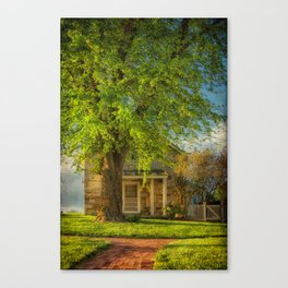 The Stone Cottage On A Spring Evening Canvas Print