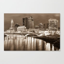Downtown Columbus Ohio Night Skyline - Sepia Cityscape Canvas Print