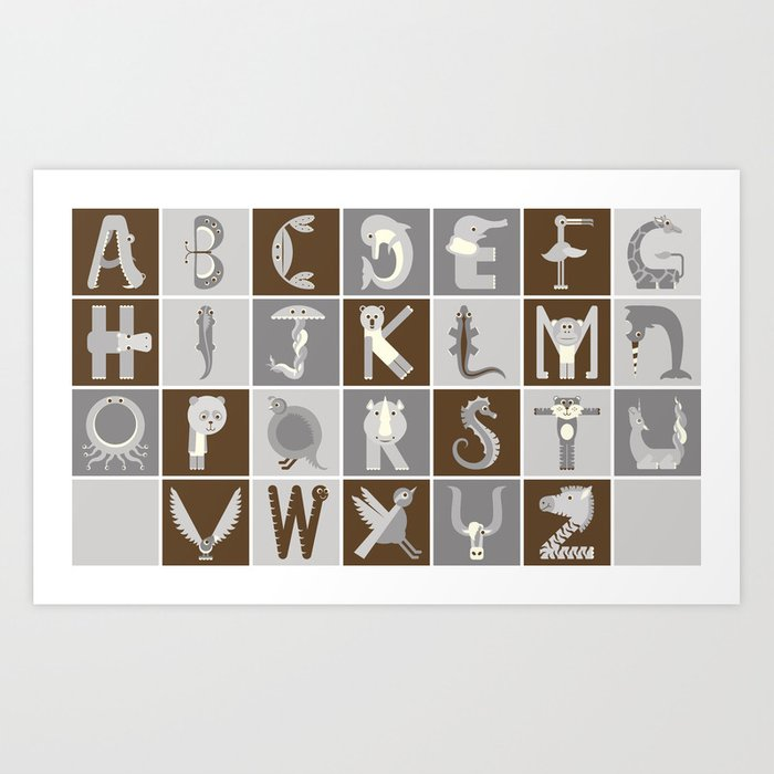 Neutral Horizontal Animal Alphabet (Complete Poster) Art Print