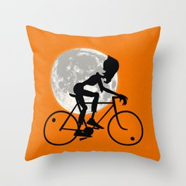 Friendly Zombie On The Go - Bike Throw Pillow