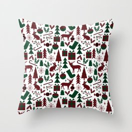 Plaid antler deer stocking christmas pudding christmas trees candy canes Throw Pillow