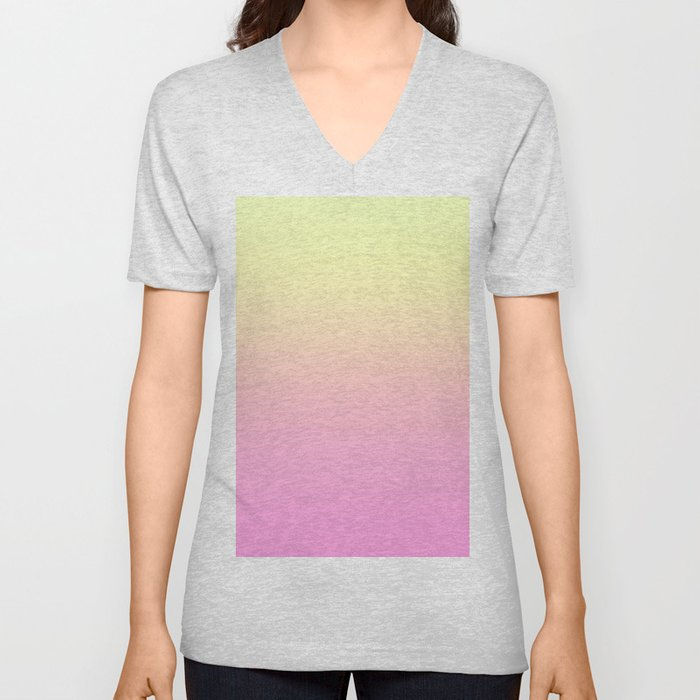 PEACH DREAMS - Minimal Plain Soft Mood Color Blend Prints Unisex V-Neck