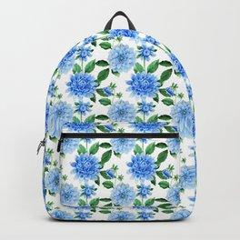 Elegant blush blue green watercolor peonies floral pattern Backpack