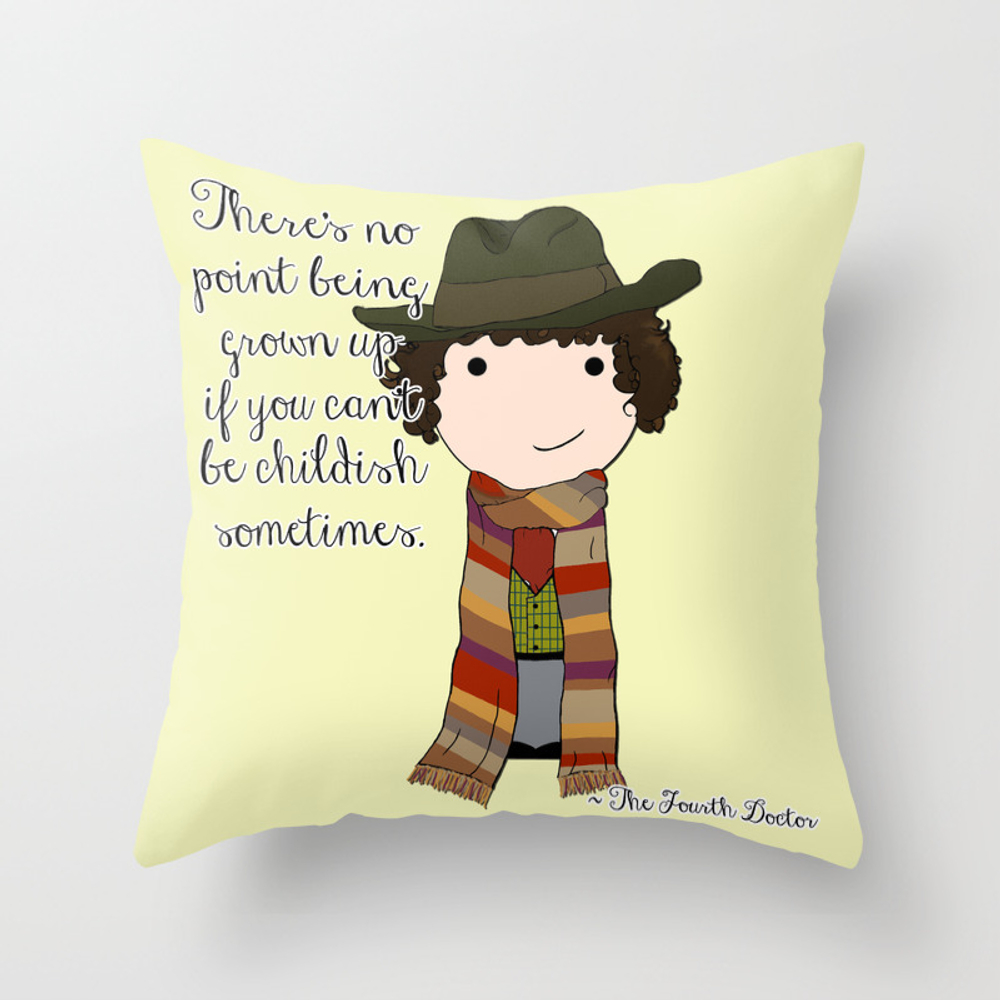 Doctor Who The Fourth Doctor Throw Pillow by Jentalley PLW1927334