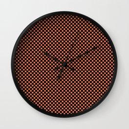 Black and Coral Rose Polka Dots Wall Clock