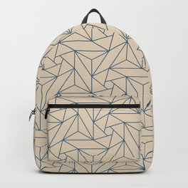 Blue & Beige Abstract Triangle Geometric Mosaic Shape Pattern Pairs To 2020 Color of the Year Backpack