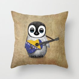 Baby Penguin Playing Bosnian Flag Acoustic Guitar Throw Pillow