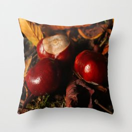 Nuts of the chestnut tree Throw Pillow