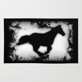 Western-look Galloping Horse Silhouette Rug