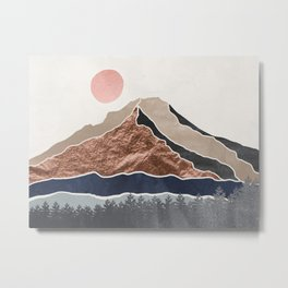 Mount Hood // Daylight Art Print Oregon Stratovolcano Rose Gold Silver Blue Cream Black Mountain Metal Print