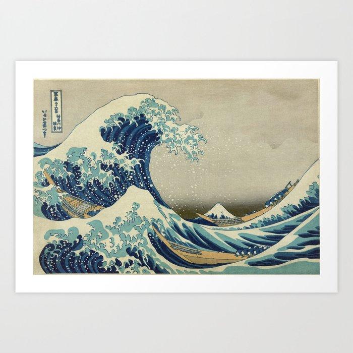 The Classic Japanese Great Wave off Kanagawa Print by Hokusai Kunstdrucke