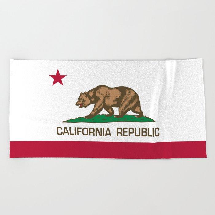 California Republic Flag High Quality Image Beach Towel