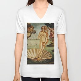 The Birth of Venus by Sandro Botticelli Unisex V-Neck