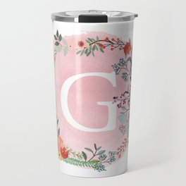 Flower Wreath with Personalized Monogram Initial Letter G on Pink Watercolor Paper Texture Artwork Travel Mug