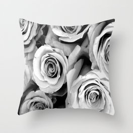 Black and White Roses Throw Pillow