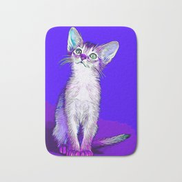 abyssinian cat kitten vector art Bath Mat