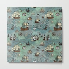 Pirate Ships Nautical Map Metal Print