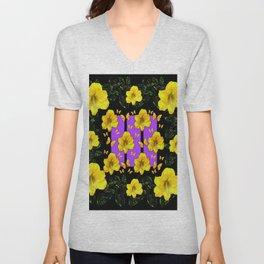 BLACK ART  YELLOW AMARYLLIS FLOWERS BUTTERFLY FLORAL Unisex V-Neck