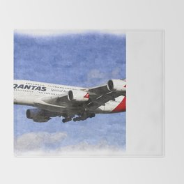 Qantas Airbus A380 Art Throw Blanket