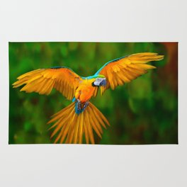 Flying Golden Blue Macaw Parrot Green  Art Rug