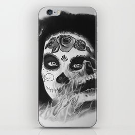 Sugar skull B&W iPhone Skin