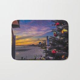 Belmont Shores Christmas Sunset Bath Mat