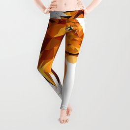 Geometric Lion Wild animals Big cat Low poly art Brown and Yellow Leggings