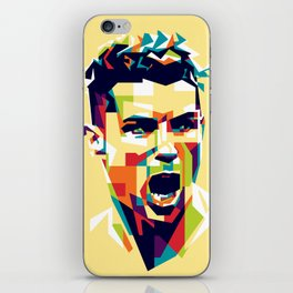 colorful illustration of ronaldo iPhone Skin
