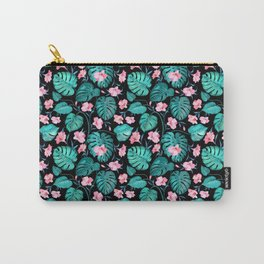 Tropical teal pink black vector floral pattern Carry-All Pouch