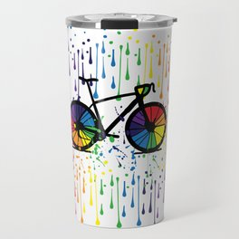 Rainbow raindrops Travel Mug