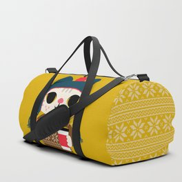 Holiday - Cat in a Sweater / Mustard Yellow Duffle Bag