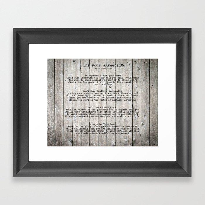 The Four Agreements Framed Art Print by andreaanderegg | Society6