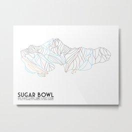 Sugar Bowl, CA - Minimalist Trail Map Metal Print