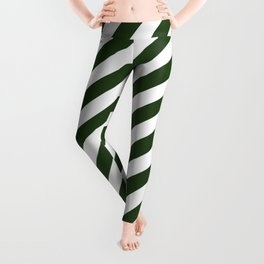 Large Dark Forest Green and White Candy Cane Stripes Leggings
