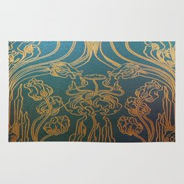 Art Nouveau,teal and gold Rug