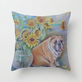Bull Gogh van Dog Sunflowers & Bulldog Pastel drawing Funny pastiche of van Gogh's painting Throw Pillow