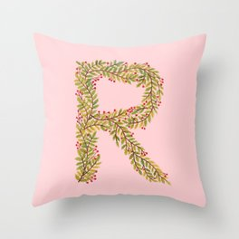 Leafy Letter R Throw Pillow