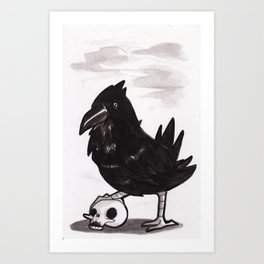 Raven - Inktober/Drawlloween 2015 Art Print