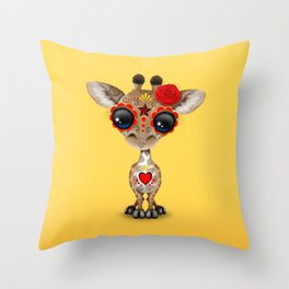 Red and Yellow Day of the Dead Sugar Skull Baby Giraffe Throw Pillow