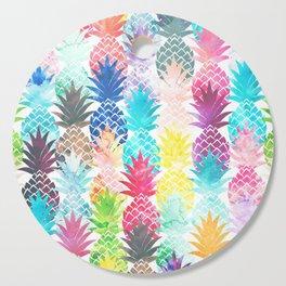 Hawaiian Pineapple Pattern Tropical Watercolor Cutting Board