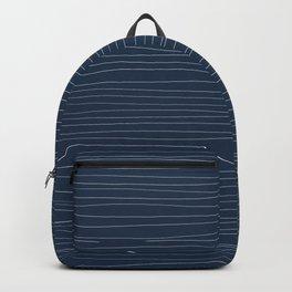 Horizontal White Stripes on Blue Backpack