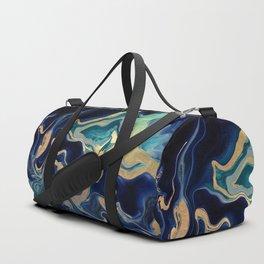 DRAMAQUEEN - GOLD INDIGO MARBLE Duffle Bag
