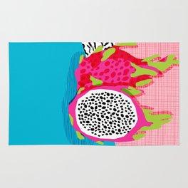 Hard Core - memphis throwback retro neon tropical fruit dragonfruit exotic 1980s 80s style pop art Rug