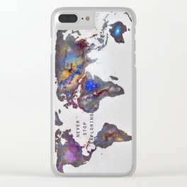 """Star map. Never stop exploring...II"". World map. Clear iPhone Case"