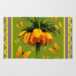 DECORATIVE GREEN & YELLOW CROWN IMPERIAL BUTTERFLIES Rug
