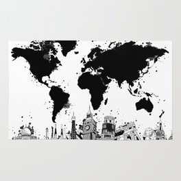 world map city skyline 4 Rug