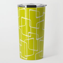 Lime Green Retro Geometric Pattern Travel Mug