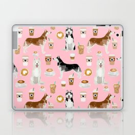 Husky siberian huskies coffee cute dog art drinks latte dogs pet portrait pattern Laptop & iPad Skin