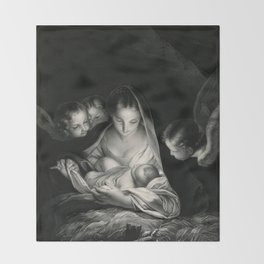 The Nativity, Virgin Mary with Infant Jesus surrounded by Angels Throw Blanket