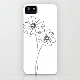 Botanical illustration line drawing - Anemones iPhone Case